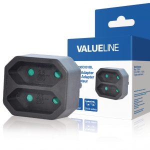 Valueline VLES200C001BL Stopcontact Splitter Euro Zwart