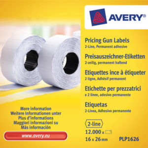 Avery AV-PLP1626 Prijstangetiketten Permanent 26x16mm Wit 10 Rol In Doos