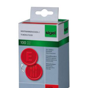 Sigel SI-WM001 Waardemunten Kunststof 100 Stuks 25mm Eten Rood